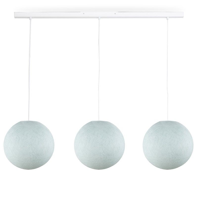 Rail white 3 azure globes S - The Island Pendant - La Case de Cousin Paul