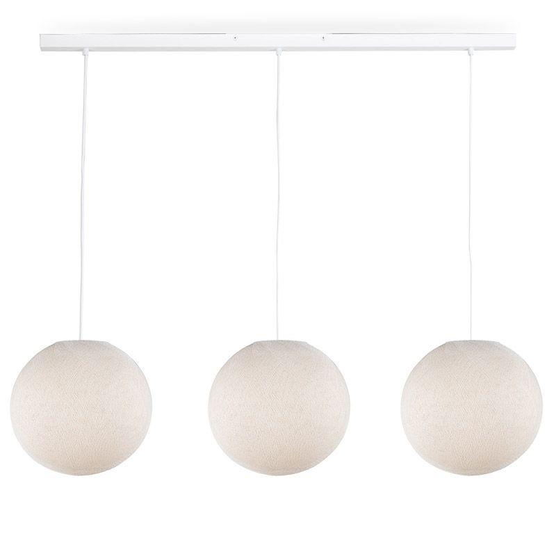 Rail blanc 3 globes S écru - Luminaire sur rail - La Case de Cousin Paul