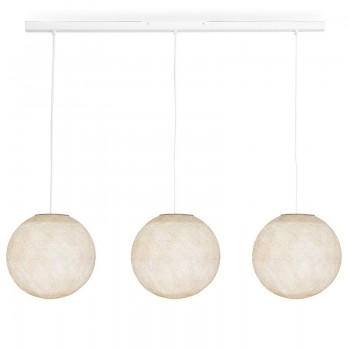 Rail white 3 ecru globes S - The Island Pendant - La Case de Cousin Paul