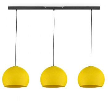 """Rail"" 3 yellow cupolas S - The Island Pendant - La Case de Cousin Paul"