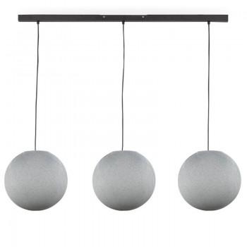 """""""Rail"""" 3 white globes S - The Island Pendant - La Case de Cousin Paul"""