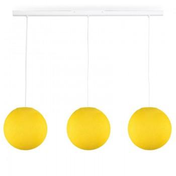 Rail blanc 3 globes S jaune - Luminaire sur rail - La Case de Cousin Paul