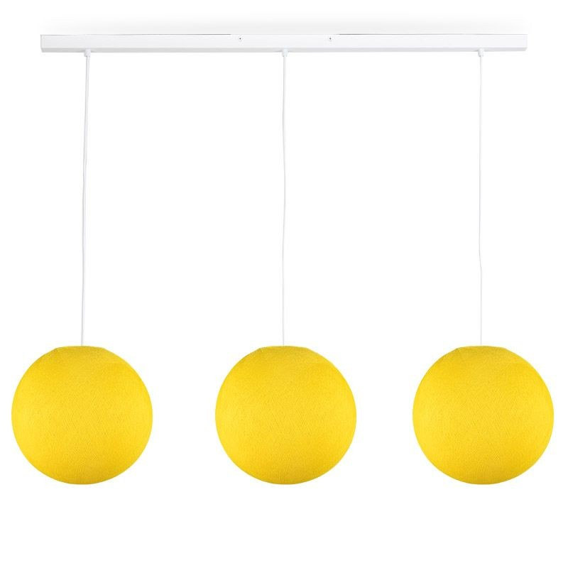 Rail white 3 yellow globes S - The Island Pendant - La Case de Cousin Paul
