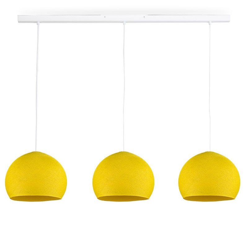 Rail white 3 yellow cupolas S - The Island Pendant - La Case de Cousin Paul