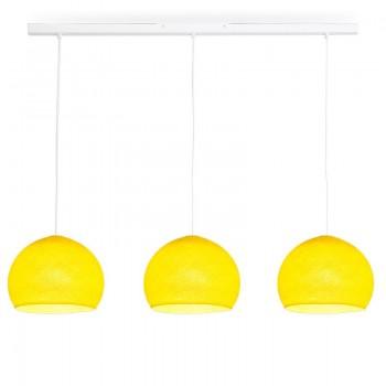Rail blanc 3 coupoles S jaune - Luminaire sur rail - La Case de Cousin Paul