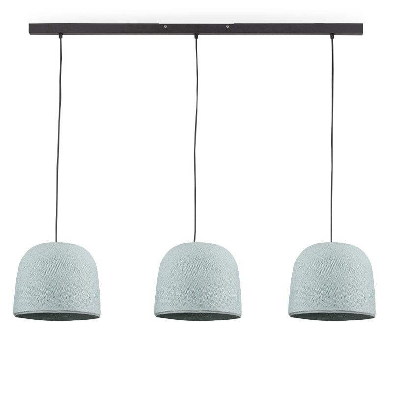 Rail gris anthracite 3 cloches azur - Luminaire sur rail - La Case de Cousin Paul