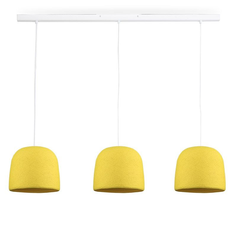 Rail blanc 3 cloches jaune - Luminaire sur rail - La Case de Cousin Paul