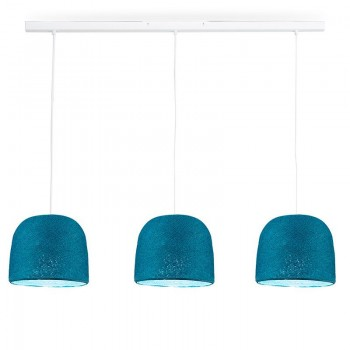Rail white 3 duck blue Cloche - The Island Pendant - La Case de Cousin Paul