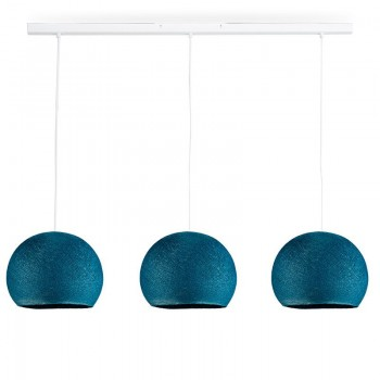 Rail wit 3 koepellamp S Eendenblauw - The Island Pendant - La Case de Cousin Paul