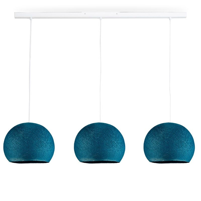 Rail white 3 duck blue cupolas S - The Island Pendant - La Case de Cousin Paul