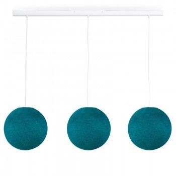 Rail wit 3 ballampen S eendenblauw - The Island Pendant - La Case de Cousin Paul