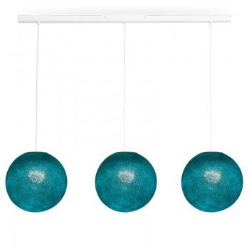 Rail white 3 Duck blue globes S - The Island Pendant - La Case de Cousin Paul