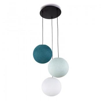 Lámpara de techo 3 globos S - Blanca - azul - Pato azul - Lámpara de techo 3 - La Case de Cousin Paul