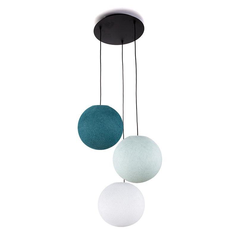 Plafoniera 3 sfere S - bianco - blu - Anatra blu - Plafonnier 3 - La Case de Cousin Paul