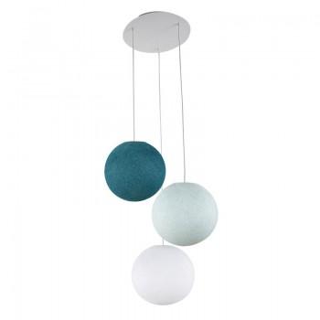 Plafondbevestiging 3 ballampen S wit - blauw - Eend blauw - Plafonnier 3 - La Case de Cousin Paul