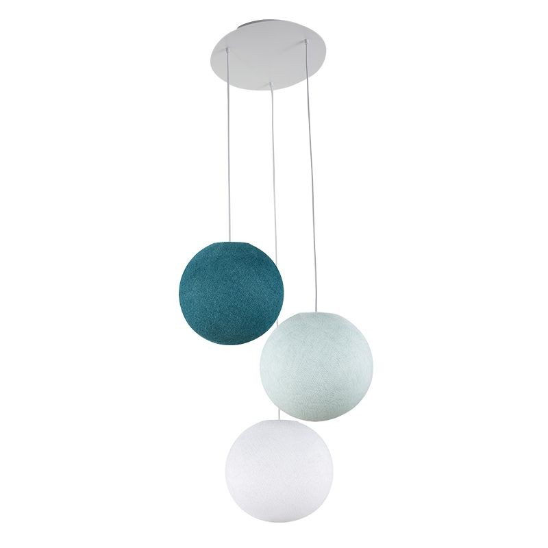Lámpara de techo 3 globos S - Blanca - azul - Pato azul - Plafonnier 3 - La Case de Cousin Paul