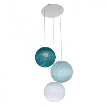Plafonnier 3 blanc, globes S 'Bleu' - Plafonnier 3 - La Case de Cousin Paul