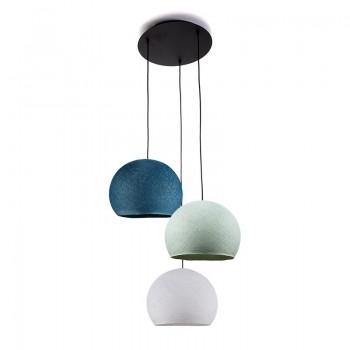Plafondbevestiging 3 koepellampen S wit - blauw - Eend blauw - Plafonnier 3 - La Case de Cousin Paul