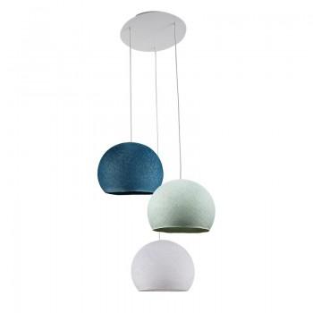 Plafondbevestiging 3 koepellampen S wit - blauw - Eend blauw - Plafondbevestiging 3 - La Case de Cousin Paul