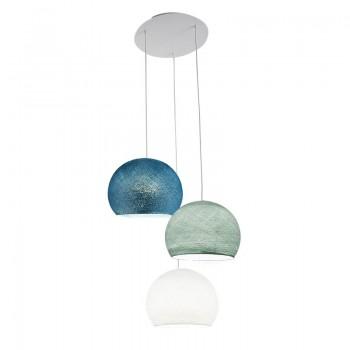 Plafoniera 3 cupole S - bianco - blu - Anatra blu - Plafoniera 3 - La Case de Cousin Paul