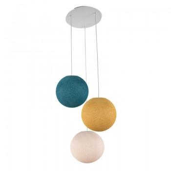 Lámpara de techo 3 globos S - Lino - Mostaza - Pato Azul - Lámpara de techo 3 - La Case de Cousin Paul