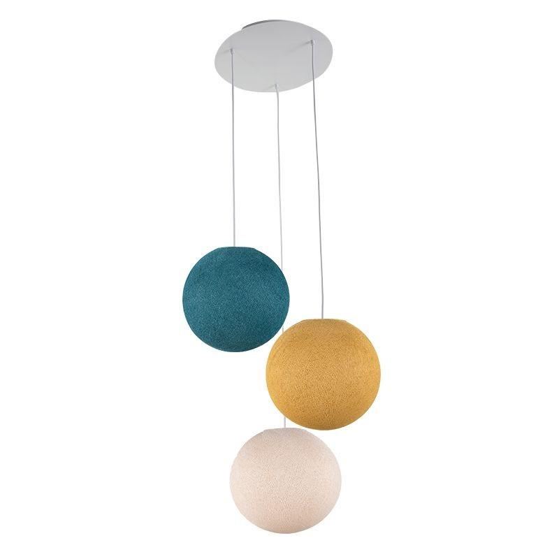 Ceiling fixture 3 globes S - Linen - Mustard - Duck blue - Plafonnier 3 - La Case de Cousin Paul