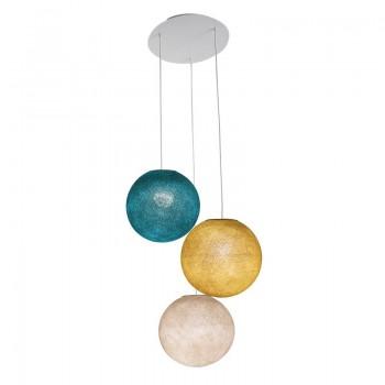 Plafondbevestiging 3 ballampen S Linnen - Mosterd - Eend blauw - Plafonnier 3 - La Case de Cousin Paul
