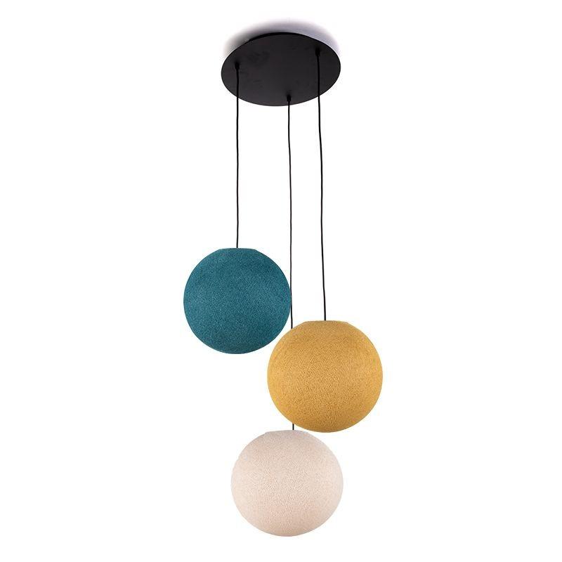 Lámpara de techo 3 globos S - Lino - Mostaza - Pato Azul - Plafonnier 3 - La Case de Cousin Paul