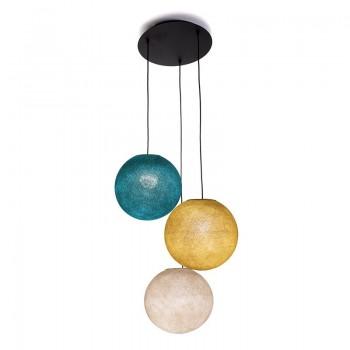 Plafonnier 3 globes S Lin - Moutarde - Bleu canard - Plafonnier 3 - La Case de Cousin Paul
