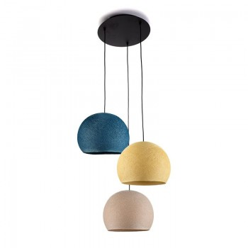 Plafondbevestiging 3 koepellamp S Linnen - Mosterd - Eend blauw - Plafonnier 3 - La Case de Cousin Paul