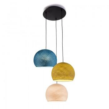 Plafondbevestiging 3 koepellamp S Linnen - Mosterd - Eend blauw - Plafondbevestiging 3 - La Case de Cousin Paul