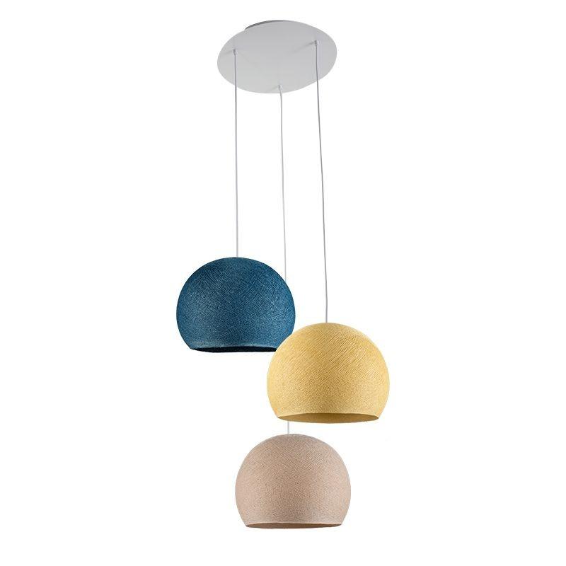Ceiling fixture 3 cupolas S - Linen - Mustard - Duck blue - Plafonnier 3 - La Case de Cousin Paul