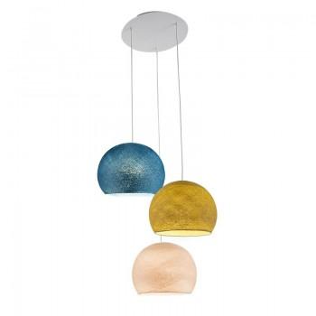 Plafoniera 3 cupole S - Lino - Senape - Anatra blu - Plafonnier 3 - La Case de Cousin Paul