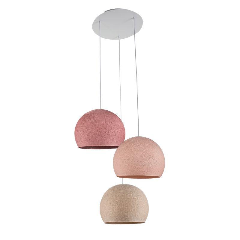 copy of Plafondbevestiging 3 koepellamp S Linnen - Poederachtig roze - Oude roos - Plafonnier 3 - La Case de Cousin Paul