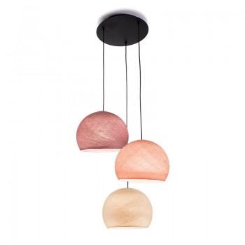 Plafondbevestiging 3 koepellamp S Linnen - Poederachtig roze - Oude roos - Plafonnier 3 - La Case de Cousin Paul