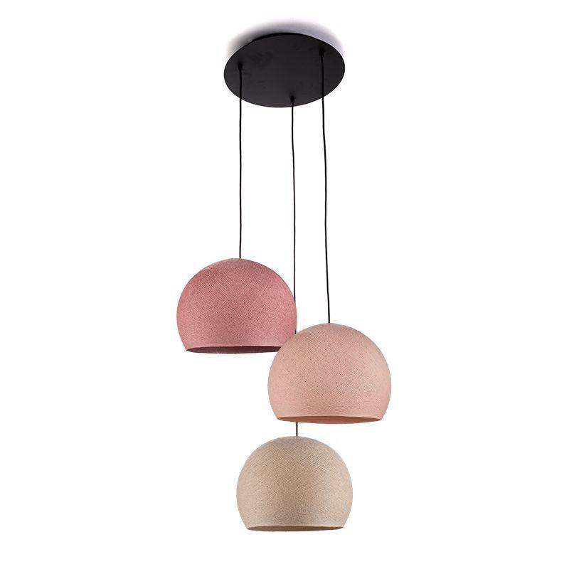 Ceiling fixture 3 cupolas S - Linen - Powdery pink - Old rose - Plafonnier 3 - La Case de Cousin Paul