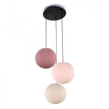 Plafondbevestiging 3 ballampen S Linnen - Poederachtig roze - Oude roos - Plafondbevestiging 3 - La Case de Cousin Paul
