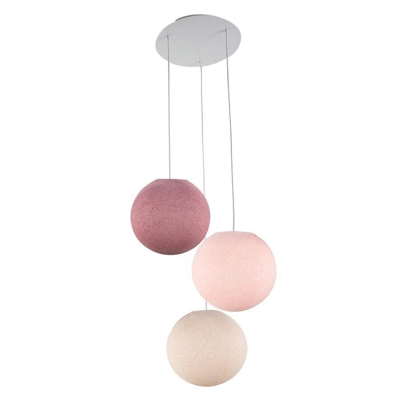Plafondbevestiging 3 ballampen S Linnen - Poederachtig roze - Oude roos - Plafonnier 3 - La Case de Cousin Paul