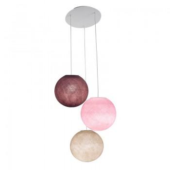 Plafonnier 3 blanc, globes S 'Rose' - Plafonnier 3 - La Case de Cousin Paul