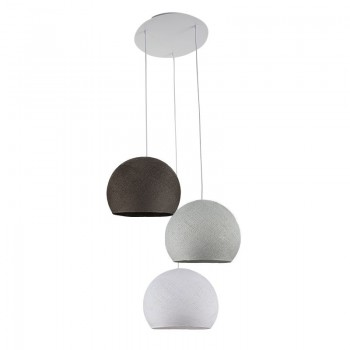 Plafondbevestiging 3 koepellampen S Wit - Parelgrijs - Grafiet - Plafonnier 3 - La Case de Cousin Paul