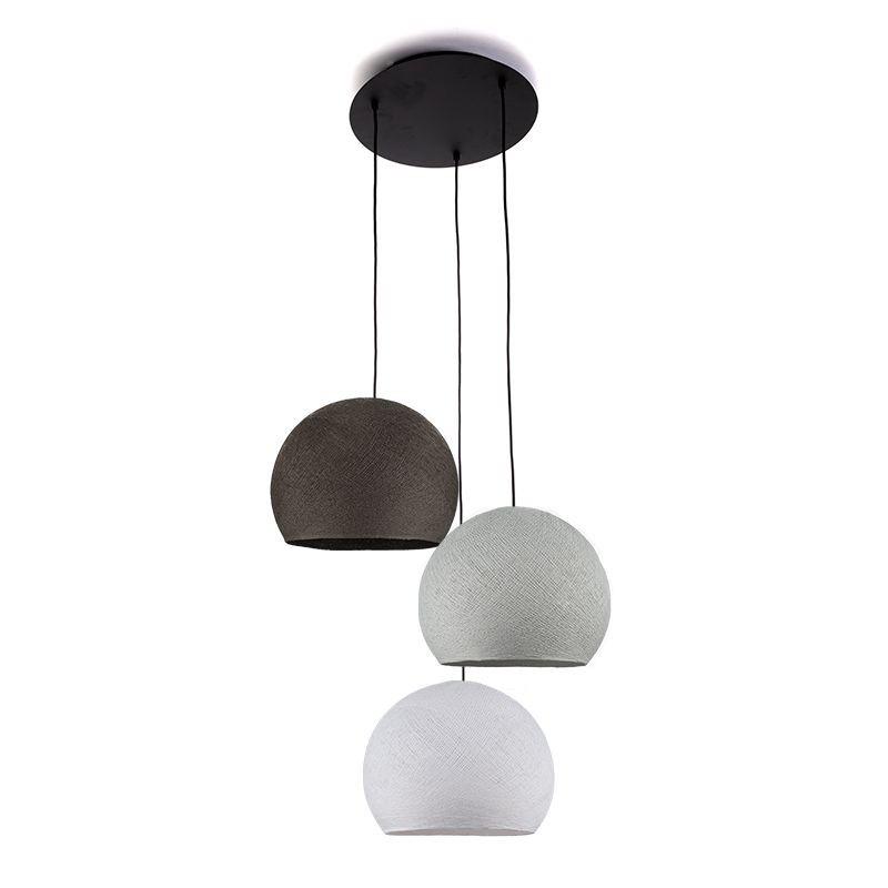 Plafondbevestiging 3 koepellampen S Wit - Parelgrijs - Grafiet - Plafonbevestiging 3 - La Case de Cousin Paul