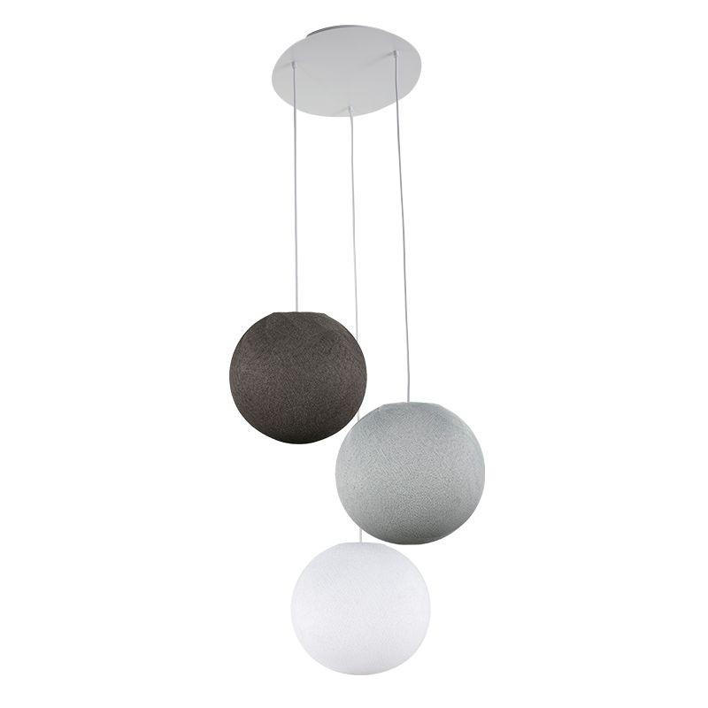 Plafonnier 3 blanc, globes S 'Gris' - Plafonnier 3 - La Case de Cousin Paul