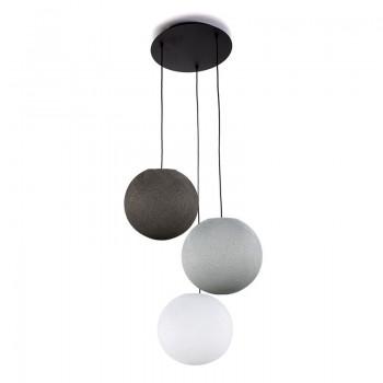 Plafonnier 3 noir, globes S 'Gris' - Plafonnier 3 - La Case de Cousin Paul