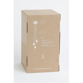 Aufhängung 3 mattweiβer mit grauem gewebtem Kabel - Die Zuberhör für Leuchten - La Case de Cousin Paul