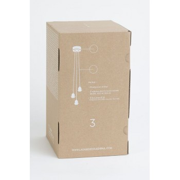 Colgante 3 blanco mate con cable tejido gris - Accesorios para lamparas - La Case de Cousin Paul