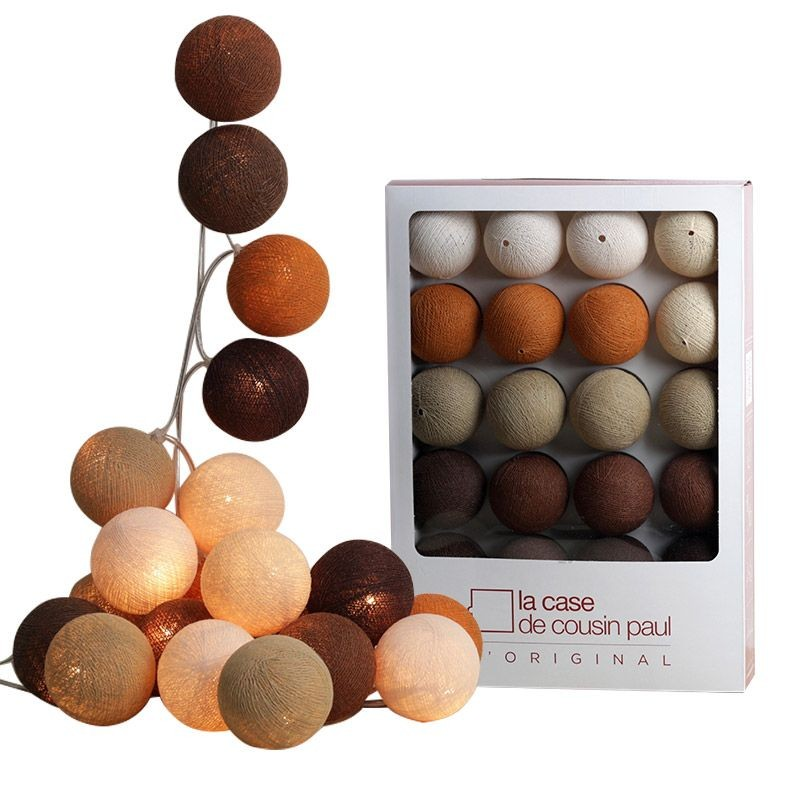 Guirlande 20 boules Naturel - Promotions Guirlandes - La Case de Cousin Paul