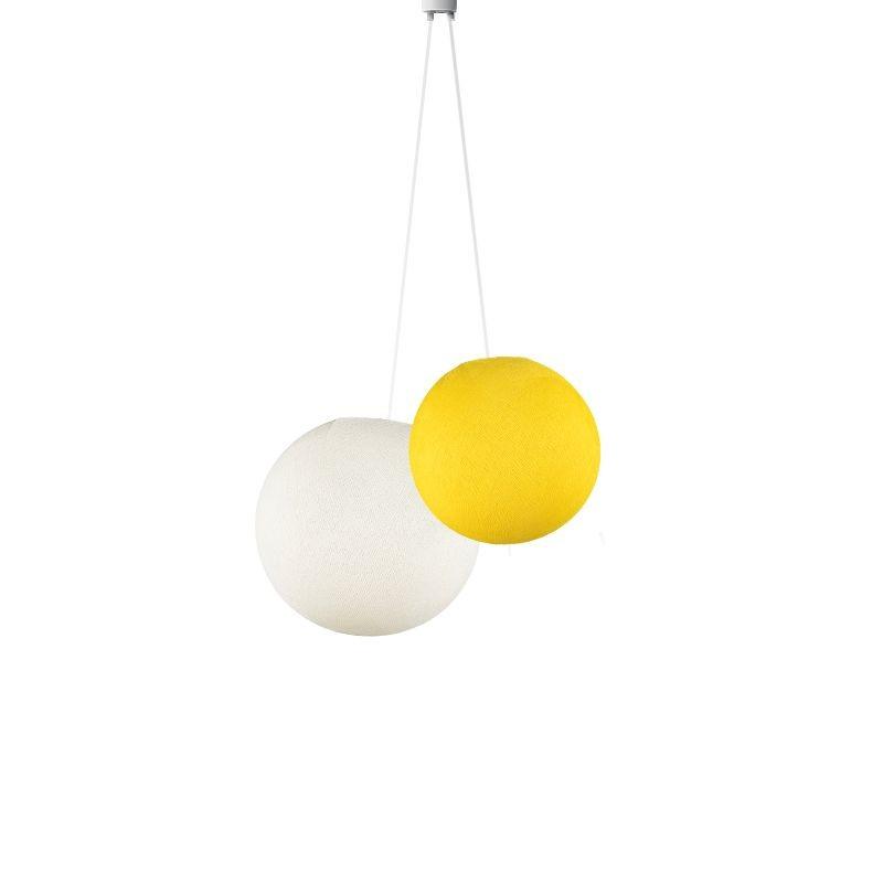 Doppeltes Leuchte kugeln gelb - elfenbein - Hängelampe zweistrahlig - La Case de Cousin Paul