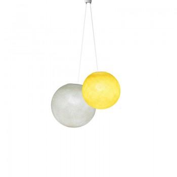 Dubbel lamp ballampen geel ivoor - Suspension double - La Case de Cousin Paul