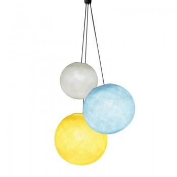 Dreifache Leuchte kugeln Elfenbein - Himmelblau - Gelb - Hängelampe dreistrahlig - La Case de Cousin Paul