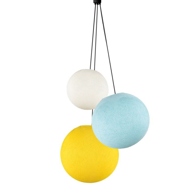 Suspension 3 globes ivoire - bleu ciel - jaune - Suspension triple - La Case de Cousin Paul